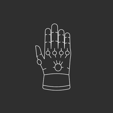 Handschoen met edelstenen.