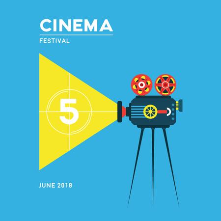Movie cinema poster design. Cinema festival illustration.