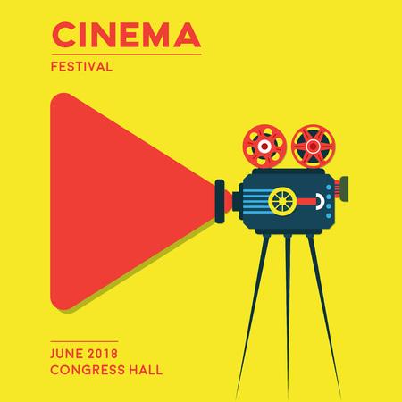Design de cartaz de cinema do filme. Ilustração do festival de cinema. Foto de archivo - 92700764