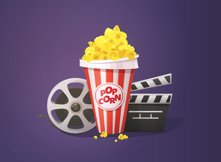 Popcorn, open clapper board and movie reel illustration on dark background.
