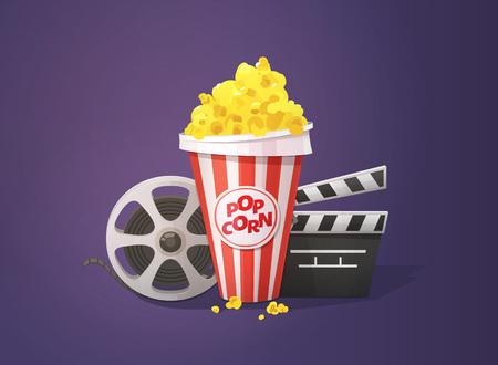 Popcorn, open clapper board and movie reel illustration on dark background.