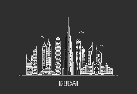 Dubai city skyline. Çizim