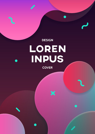 Cover with geometric pattern. Shapes with gradients composition. Dynamic Effect 向量圖像