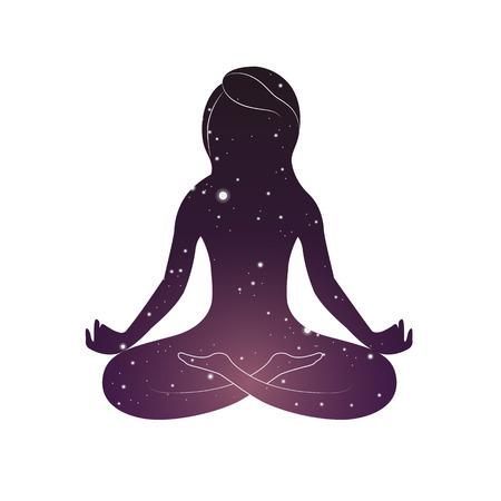 Woman is sitting in lotus posture.