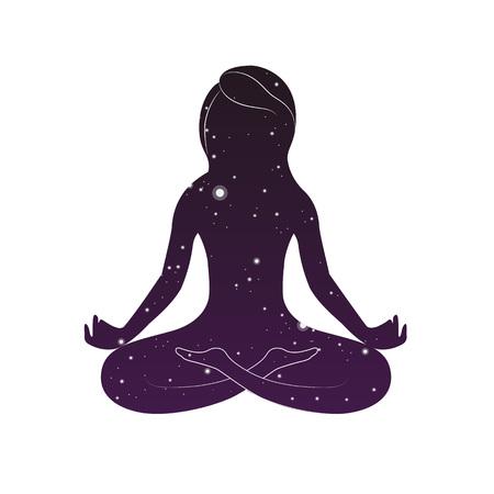 Woman is sitting in lotus posture. Female yoga.