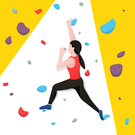 Young woman bouldering in climbing wall. Vector illustration