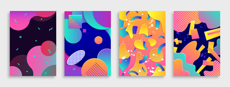 Colored Modern abstract covers set. Vector illustration. Imagens - 95749883
