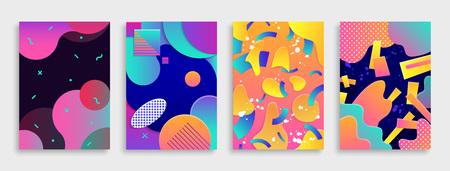 Zestaw kolorowych nowoczesnych streszczenie obejmuje. Ilustracji wektorowych.