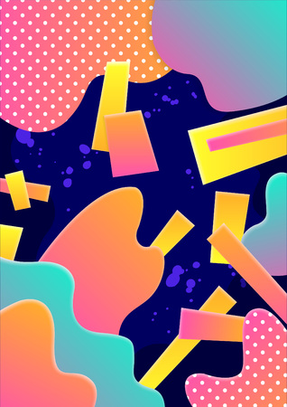 Modern abstract poster with colorful geometric shapes. Vector illustration.