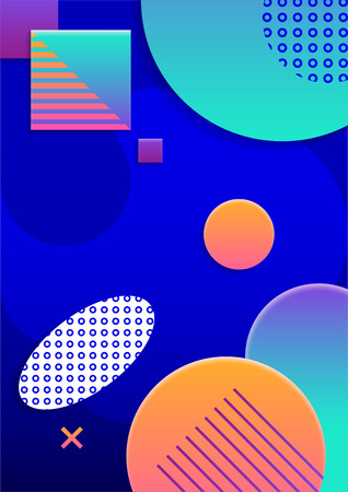 Modern abstract poster of various geometric shapes