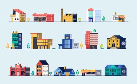 Set of city buildings. Vector illustration.