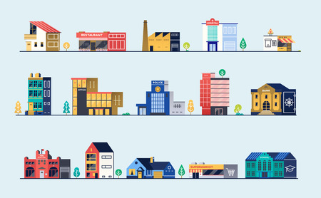 Set of city buildings. Vector illustration.
