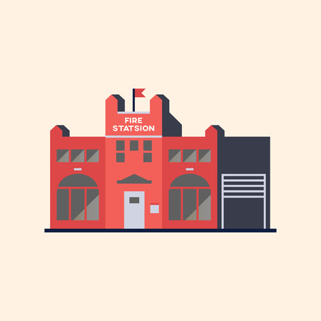 Building of a red fire station illustration Illustration