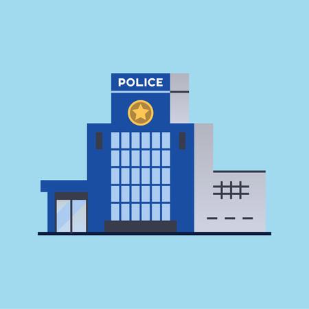 Stad politiebureau afdeling gebouw. Vector illustratie
