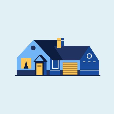 Family home. Modern house. Ilustração