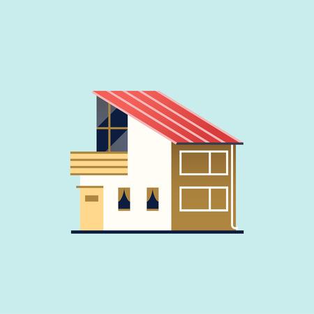 Family home. Modern house Vector illustration.