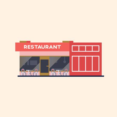 ストリートレストランの建物ベクターイラスト。