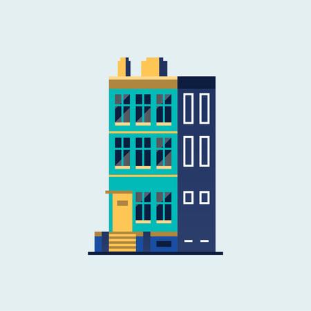 Family home. Modern house. Illustration