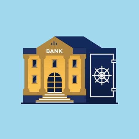 Bank building. Symbol of Safe Vector illustration.