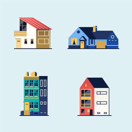 Set of houses. Suburban house, town house, and cottage. Vector illustration in flat style Stock Illustratie