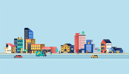 Urban landscape with modern buildings, offices, police department, restaurant. Vector Illustration Stock Illustratie
