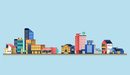 Urban landscape with modern buildings, offices, police department, restaurant. Vector Illustration Stock Illustratie