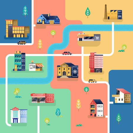 Map of city, vector illustration Ilustração
