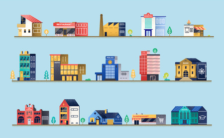 Set of city buildings. Stock Illustratie