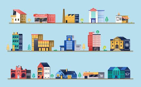 Zestaw budynków miejskich. Ilustracje wektorowe