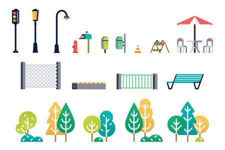 Street furniture and trees set. Vector illustration.