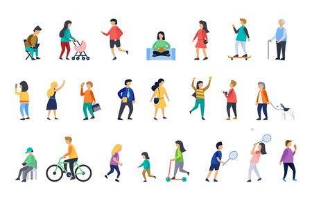 People in various lifestyles, businesspeople, woman walking to the dog, friends play badminton, woman doing yoga. Vector illustrations. Ilustração