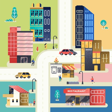 City with people, cars, buildings. Flat style vector Illustration