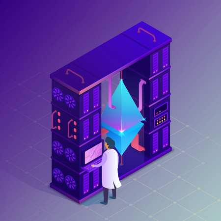 Mining crypto currency. Ethereum farm concept. Isometric vector illustration.