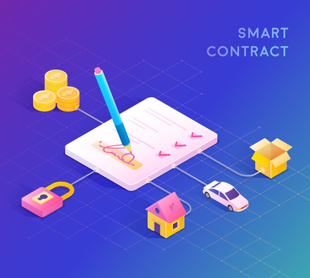 Smart contract concept illustration. Digital signature. Vector illustration Illustration