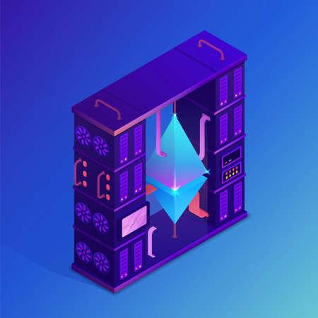 Mining crypto currency. Etheteum farm concept. Isometric vector illustration.