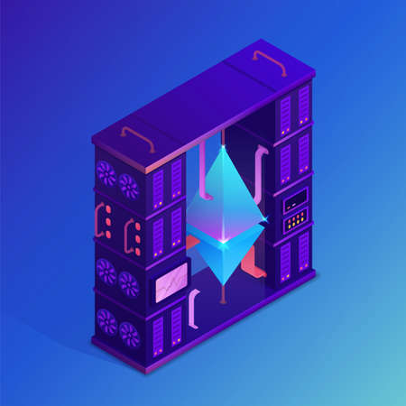 Mining crypto currency. Etheteum farm concept. Isometric vector illustration.