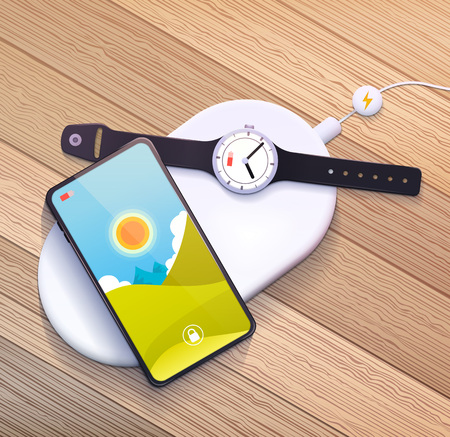 Wireless charging pad with mobile phone and smart watch. Vector illustration. Stock Illustratie
