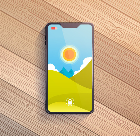Smart phone on wooden table. Vector illustration. Foto de archivo - 114736118