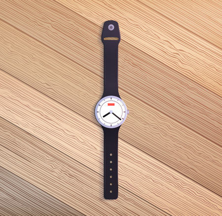 Watch on wooden table. Vector realistic illustration.
