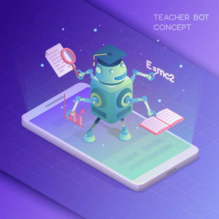 Teacher bot concept. Artificial intelligence. Isometric vector illustration