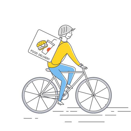 Courier on bicycle delivering food. Vector thin line illustration.