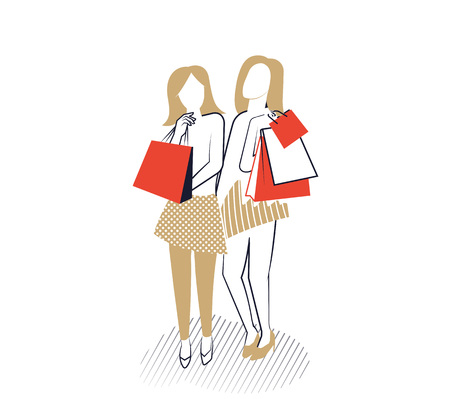 Young girls with shopping bags. Vector illustration. Иллюстрация
