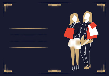 Young girls with shopping bags. Vector illustration. Stock Illustration - 110282282