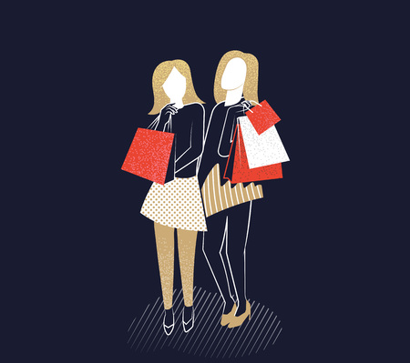 Young girls with shopping bags. Vector illustration. Stock Photo