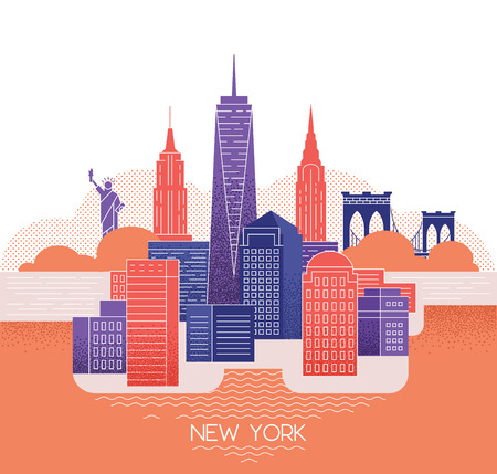 New York skyline. Travel and tourism background. Standard-Bild - 111948391