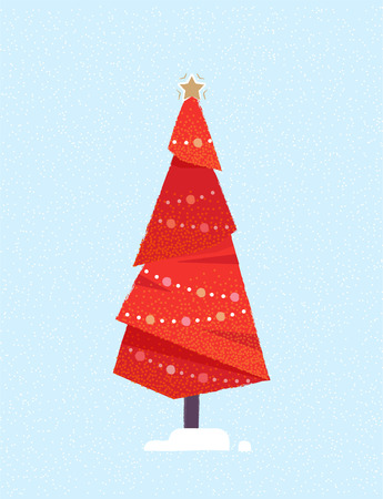 Decorated Christmas tree. Merry Christmas and a happy new year card. Vector illustration.