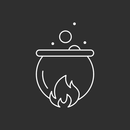 Magic pot. Magic vector icon. Wizard equipment. Line style