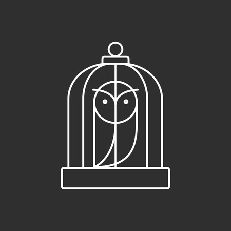 Owl in a Cage. Magic vector icon. Wizard equipment. Line style