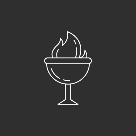 Goblet of Fire. Magic vector icon. Wizard equipment. Line style