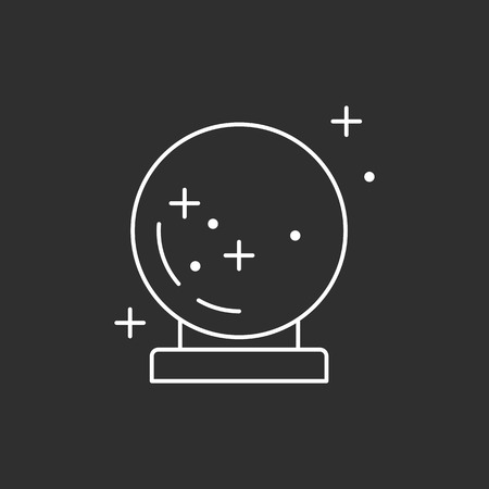 Magic sphere. Magic vector icon. Wizard equipment. Line style Illustration